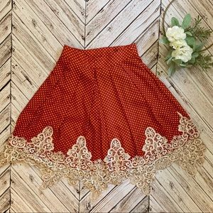 NEW lace trim polka dot skirt in carnelian red